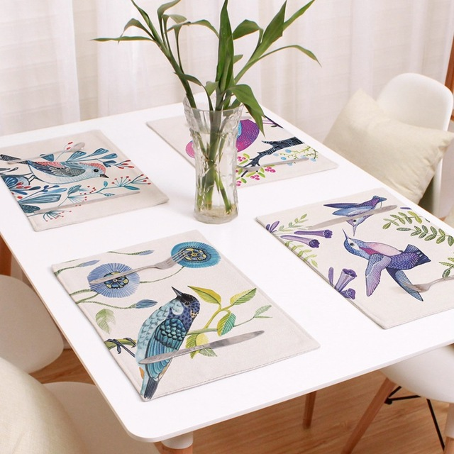 Birds Placemat For Dining Table Animal Print Series Stand Under The Hot Mat Linen Kitchen