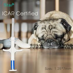 10 шт. 1,25*7 мм 134,2 кГц животного rfid стеклянный колпачок, iso совместимый собака записываемый чип с шприц для идентификации животных