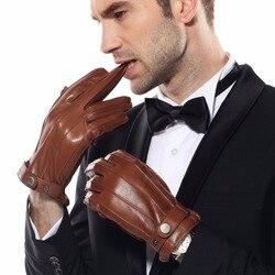 ARCtic SUN NEW Men's Sheepskin Gloves Male Autumn Winter Cashmere Lined Thicken Warm Genuine Leather Motorcycle Gloves EM005WR