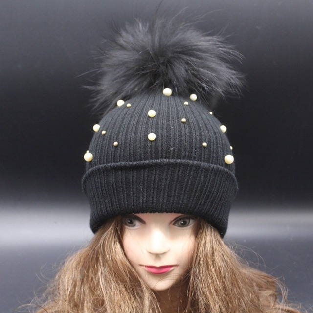 new arrival dyed pom pom black raccoon fur hat pearl handmaded decorated beanies super big pom pom beanies women fashion hat
