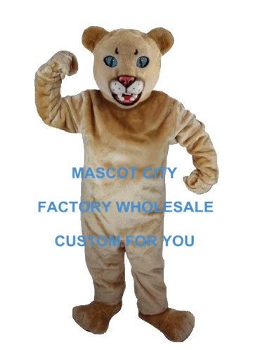 Tan Leopard Panther Cat Cougar Mascot Costume Mascotte Mascota Outfit Suit Fancy Dress for Party Carnival Cosply SW665