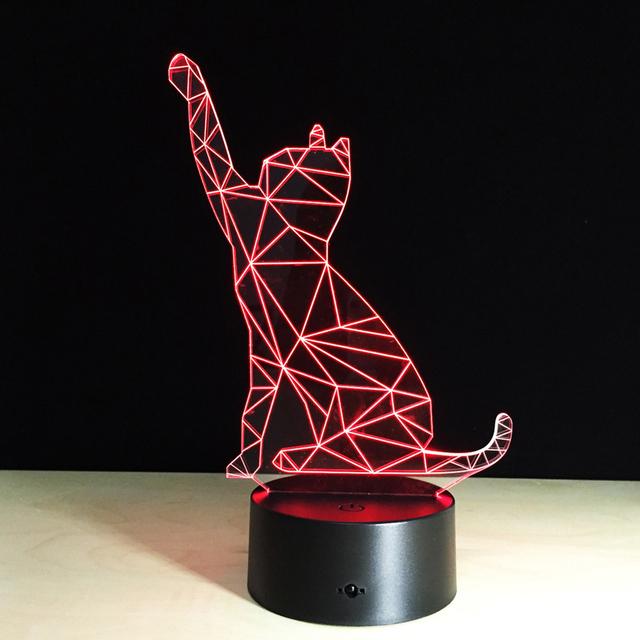 Olá Gato Forma 3D Efeito Visual de Luz Da Lâmpada Interruptor de Toque & Iluminação Muda de cor de Controle Remoto Luz Da Noite Para Dormir