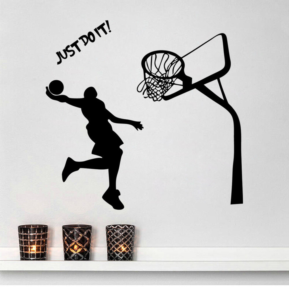 Aliexpress.com : Buy Kidu0027s Room Wall Decal Just Do It MICHAEL JORDAN DUNK  Basketball Sports Stars Quote Mural Removable Wall Sticker Home Decor From  ... Part 49