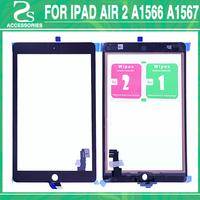 New For iPad 6 Touch Screen For ipad air 2 6th Display Digitizer Touch Sensor Glass With Flex Cable Back Sticker Adhesive