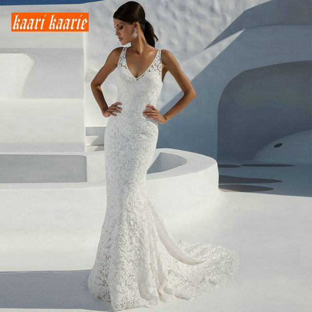 Sexy Mermaid Long Wedding Gowns 2019 Wedding Dress Women Formal Ivory V-Neck Lace Backless Sweep Train Cheap Lady Bridal Dresses