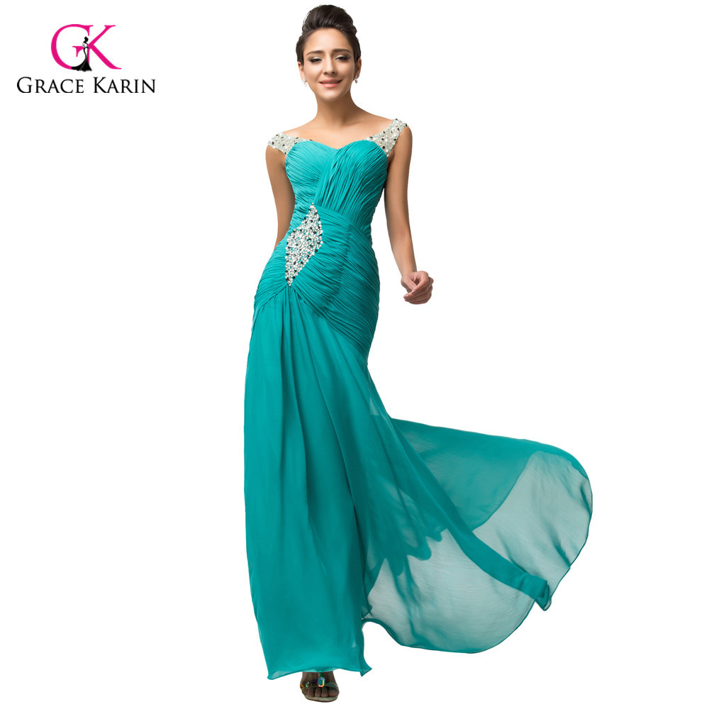 ჱElegant Green Turquoise Chiffon long Formal Evening Dresses ...