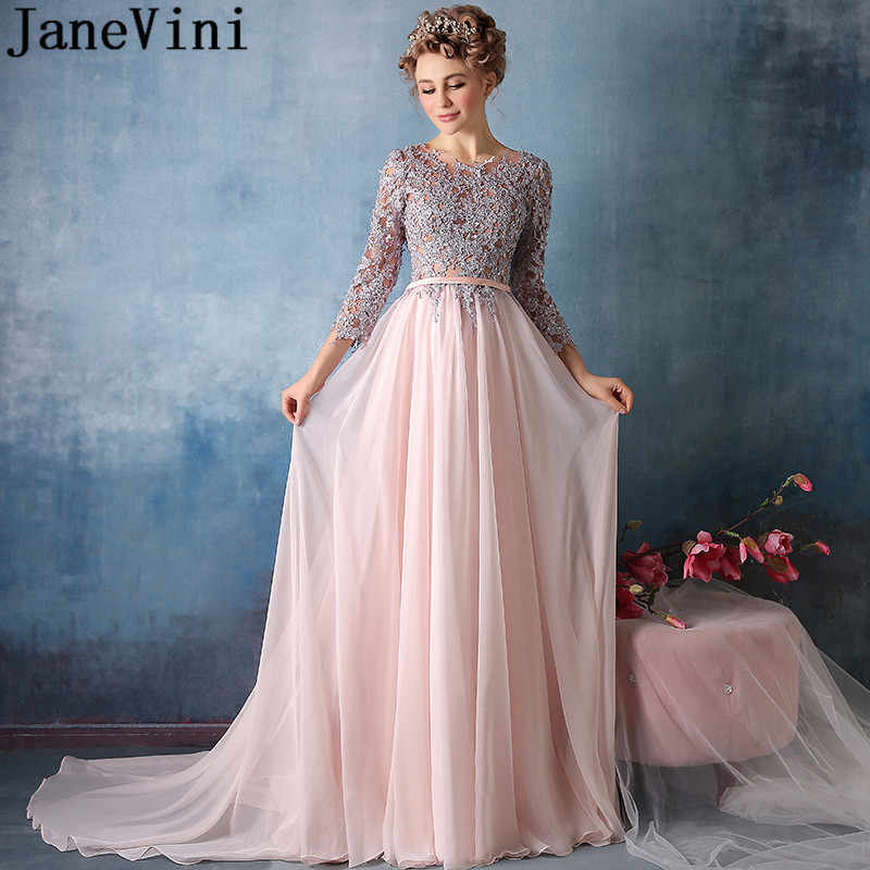 Janevini Vintage Pink Long Bridesmaid Dresses With 3 4 Sleeves Chiffon Beaded Sequins Lace Women Prom Party Gown Vestido Longos
