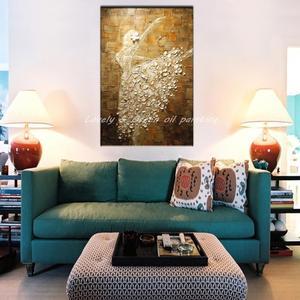 Image 2 - Mintura בלט רקדנית תמונה יד צבוע מופשט צבעים סכין ציורי שמן על בד קיר אמנות לסלון בית תפאורה