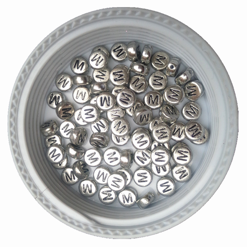 Free Shipping 4*7MM 3600PCs Flat Coin Round Shape Silver Letters Acrylic Beads DIY Jewelry Findings Plastic ALphabet M Beads