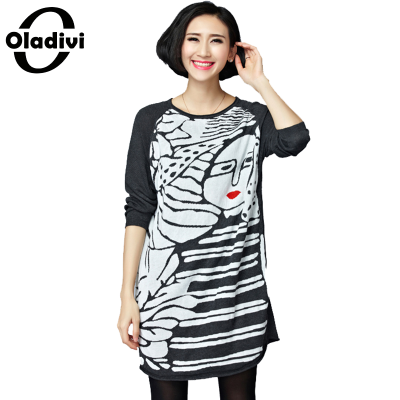 Oladivi Women Sweater Dress Autumn Winter Warm Pullover Causal Slim Patchwork O-neck Full Sleeve Knitted Dresses Sweater Tunics