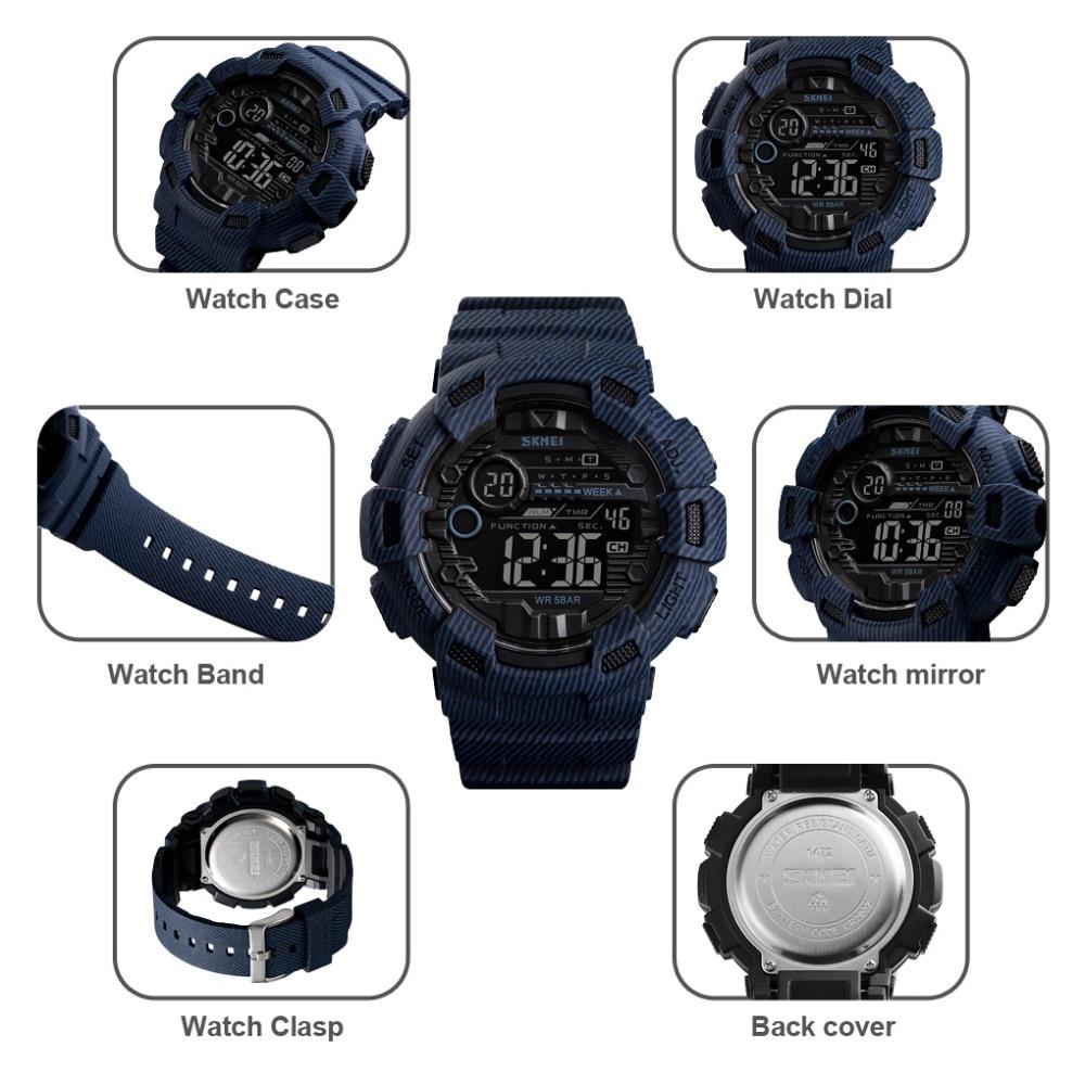 Новые часы Мужские Цифровые Спортивные мужские наручные часы reloj hombre Two Time Chrono будильник часы модные мужские часы Топ бренд SKMEI - 5