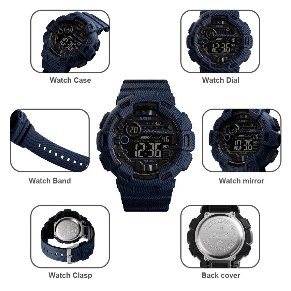 Novo relógio de pulso homem do esporte digital reloj hombre dois tempo crono despertador hora moda relogios homem topo da marca skmei - 5