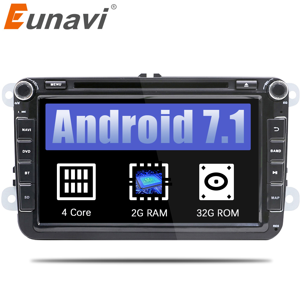 Eunavi 2 din 8'' Android 7.1 VW Car DVD player for VW Tiguan Polo Golf Passat B6 Jetta skoda seat wifi GPS Stereo Radio in dash funrover android 8 0 two 2 din 9 inch car dvd player stereo for vw volkswagen polo golf skoda octavia seat radio wifi usb no dvd