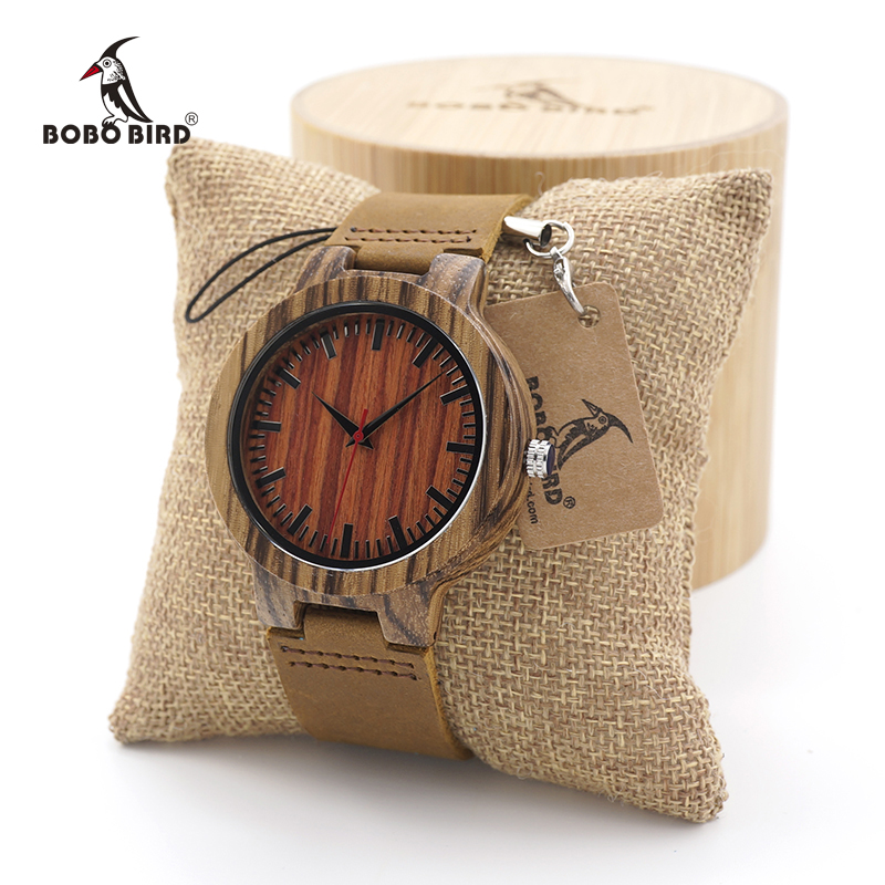 BOBO BIRD Mens Antique Wooden Watches Womens Vintage Wooden Watch With Genuine Leather Band bobo bird 12 holes design bamboo wooden watch mens quartz analog watches with genuine leather band as gift montre homme 2017