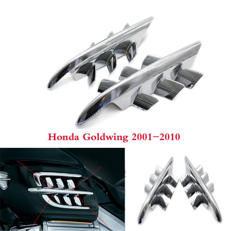 Chrome Shark Gills Fairing Accents For Honda Goldwing GL1800 2001 2002 2003 2004 2005 2006 2007 2008 2009 2010 years fairing bolts full screw kit for honda vtr1000f 1997 2005 vtr 1000f vtr 1000 f 2001 2002 2003 2004 2005 3f60 nuts bolt screws