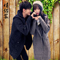 Knitted cardigan sweater slim long pure Korean male hooded Pullover couples dress coat and