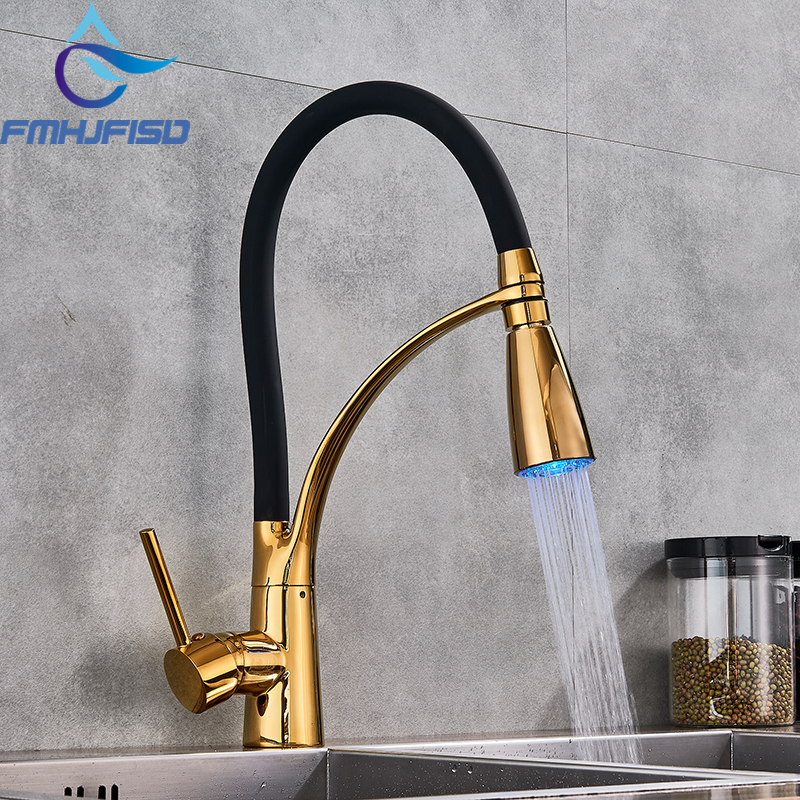 360 Swivel Kitchen Faucets Pull Out LED Sprayer Mixer Water Vessel Sink Faucets Cold and Hot Water Taps ulgksd kitchen faucets pull out ledsprayer vessel sink faucets 360 swivel cold and hot water kitchen mixer tap