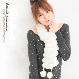 Fur volleyball scarf high quality rabbit fur muffler scarf chromophous Women