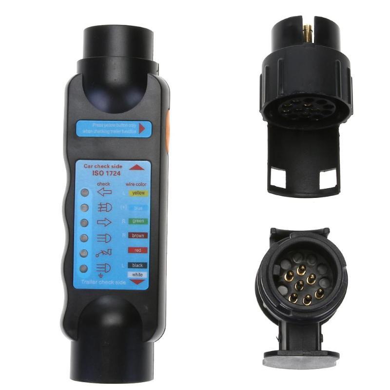 цена на 12V Electric Trailer Wiring Tester 7Pin 13Pin Towing Light Wire Circuit Plug Socket Set Kit for Caravan Bicycle