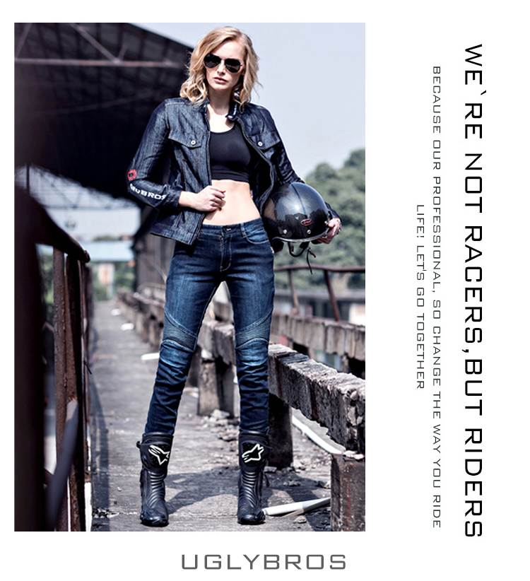 2016 The newest UglyBROS Fire prevention cloth inside The cowboy riding pants Female motorcycle road locomotive