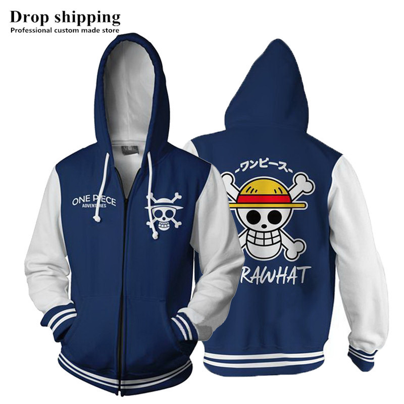 Anime Hoodies ONE PIECE 3d Printed Hooded Hoodies Sweatshirts For Men Spring Antumn Zipper Jackets Cardigan Clothes Plus Size