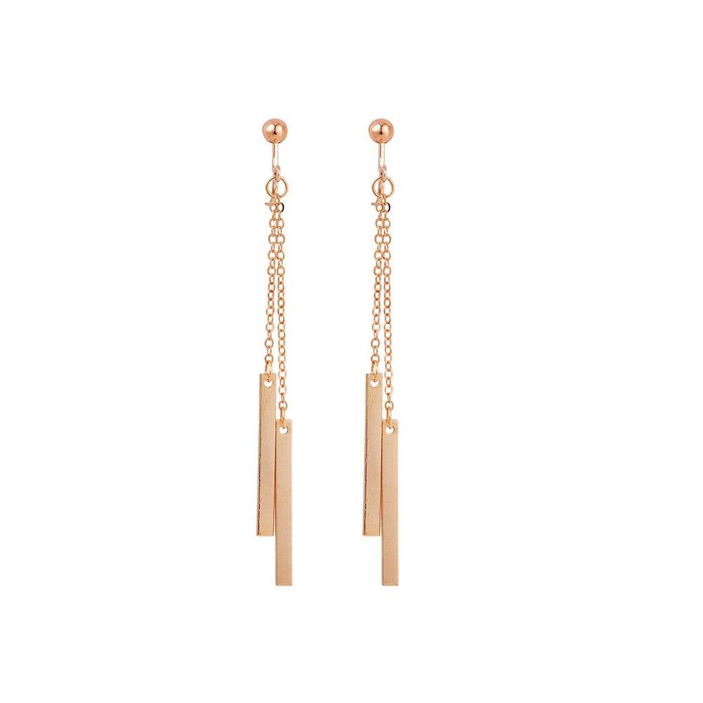 Moda Simple borla pendientes asimétrica barra de oro largo China borla oreja Clips sin perforación sin agujero tornillo auriculares joya clip