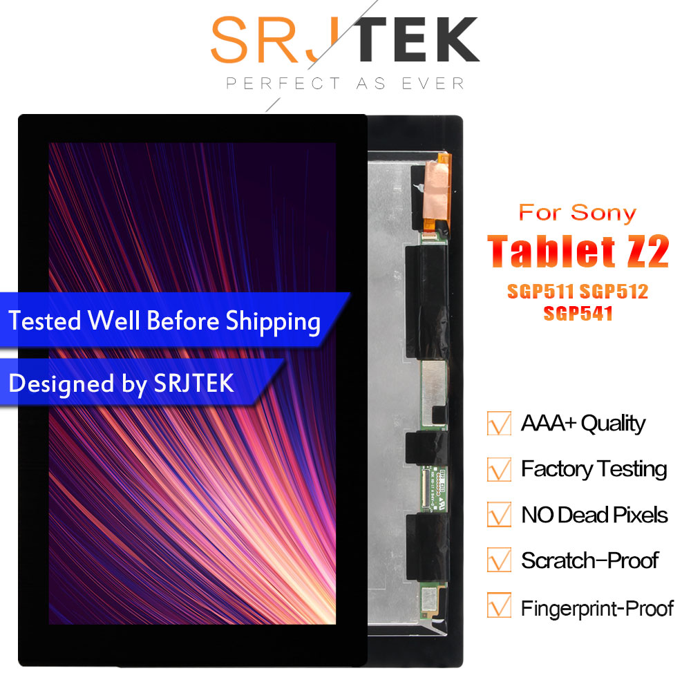 SRJTEK Tablet Z2 LCD For Sony Xperia Tablet Z2 SGP521 Display Touch Digitizer Screen Replacement SGP511 SGP512 SGP541 LCD Matrix