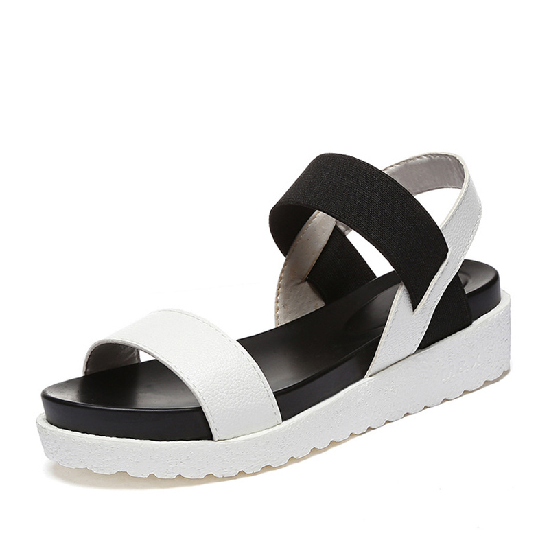 ZHENZHOU Ženske čevlje 2018 poletje Leopard zrnate sandale ženske Sandale čevlji ženske peep-toe ravne Čevlji Rimske sandale Ženske sandale