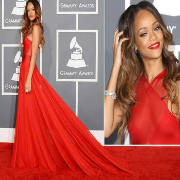 Rode Gala Jurk.2015 Laatste Met Gala Jurk Rihanna Rode Chiffon Lange Prom Dresses