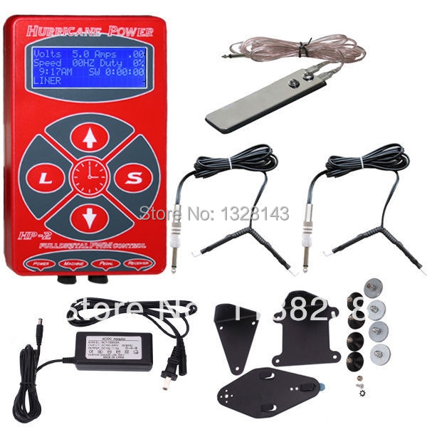 Red Hurricane Power Digital LCD Tattoo Power Supply 2 Clip Cord & Foot Pedal for tattoo machine tattoo gun free shipping promotion tattoo machine power supply digital foot pedal switch 8 clip cord tattoo grommets tattoo kit free shipping