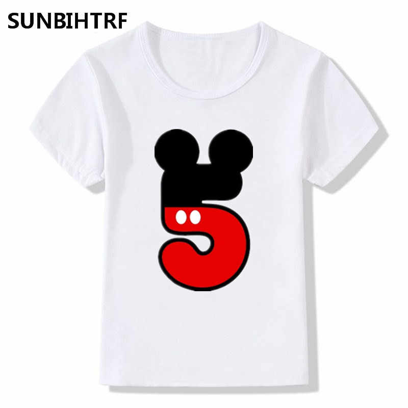 Summer Children T Shirts Fashion Funny Happy Birthday Number 1 9 Letter Print Big