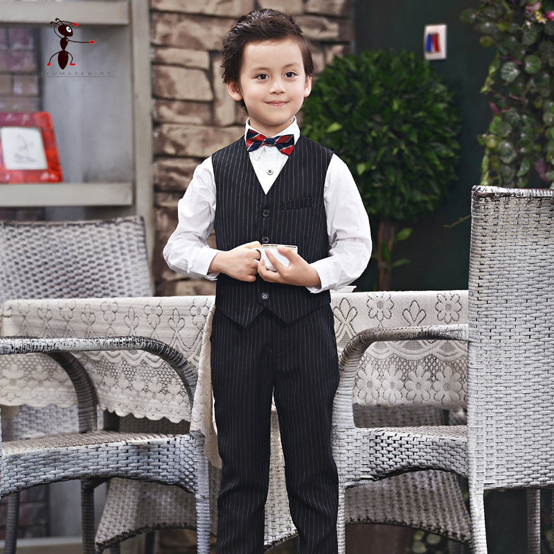 Kung Fu Ant 2018 New Arrival 4PCS Sets Vest+Shirt+Pant+Tie Kids Clothes Roupas Infantis Menino for Party Suit Boys C