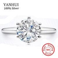 YANHUI Women 100 Original 925 Silver Rings Set 2 Carat 7mm SONA CZ Diamond Wedding Rings