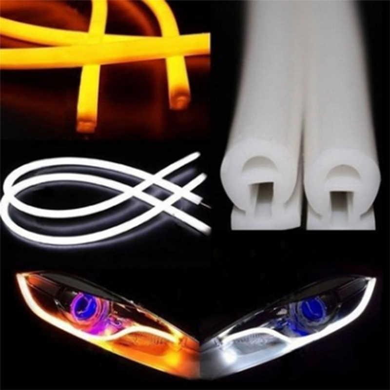 2X на глубину до 30/45/60 см автомобиля 12V Дневной светильник гибкие светодиодные ленты Авто DRL Дневной светильник автомобильный сигнал поворота светодиодный гибкий Акцент Светильник