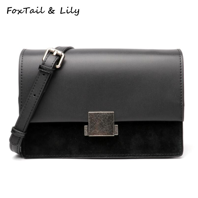 FoxTail & Lily Real Leather Shoulder Bag Women Handbags Genuine Leather Small Crossbody Bags Famous Brand Female Messenger Bag xiyuan brand 2017 real leather women hot pink shoulder bag vintage style small crossbody bag female handbags for girls bolsas