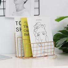 Nordic металлический стеллаж для хранения Vogue современный шик Золотая корзина для хранения Изящные сетка для хранения, журналы-газеты блокнот-Органайзер
