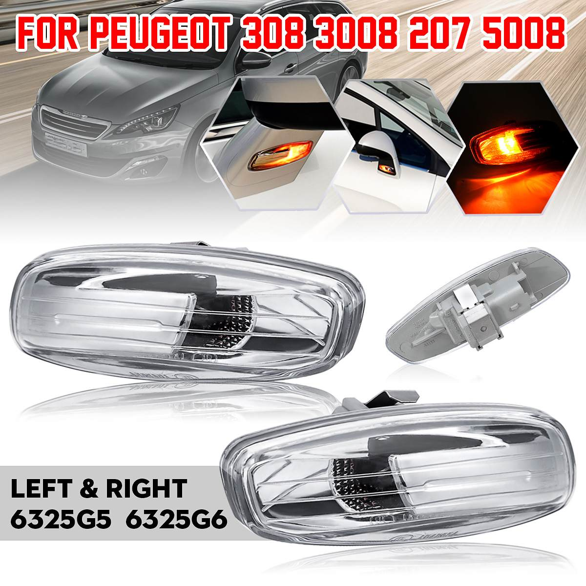 Car <font><b>LED</b></font> Side Indicator Repeater Light Left Right <font><b>Lamp</b></font> 6325G5 6325G6 For <font><b>Peugeot</b></font> <font><b>308</b></font> 3008 207 5008 image