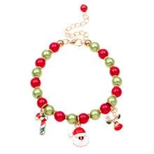 New Christmas gift charm bracelet jewelry Santa Claus Elk Pendant Alloy Beads Bangles Jewelry for women Girls