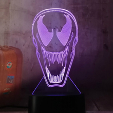 3d Led Night Light Lamp DC Marvel Comics Movie Venom Figure Nightlight for Office Room Decor Color Changing Touch Sensor