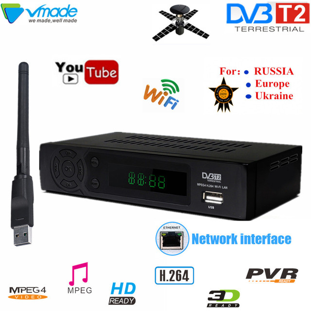 HD DVB TV Box dvb t2 full hd Digital terrestrial tv ontvangen DVB T2 8939 met USB WIFI TV Tuner h.264 ondersteuning youtube set top box