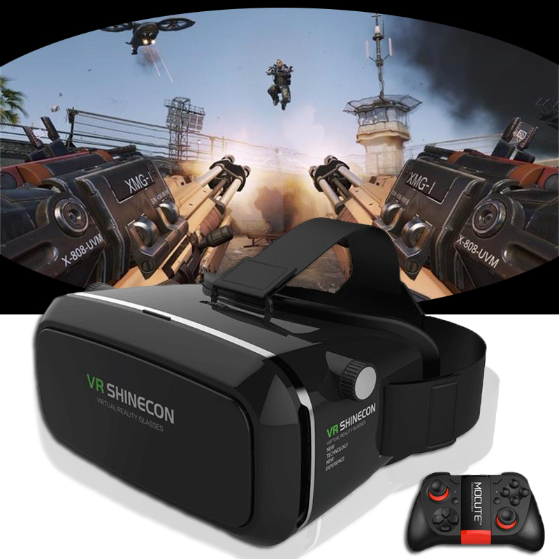 HOT! 2016 New shinecon VR Google cardboard VR BOX with Headphone VR Virtual Reality 3D Glasses For 4 – 6.0 inch Smartphone