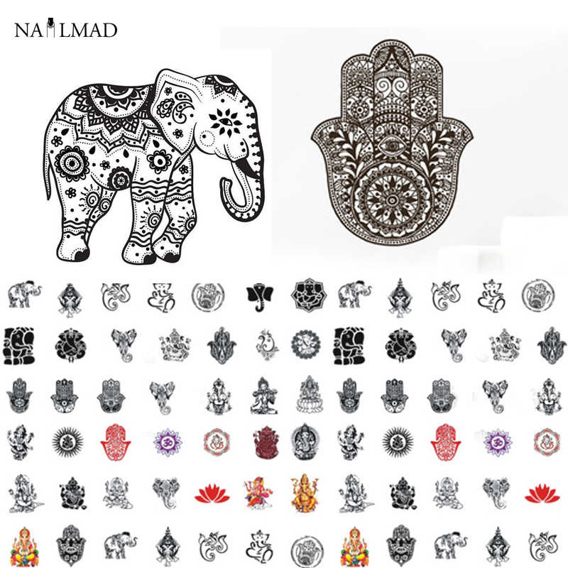 1 sheet NailMAD Mandala Indian Elephant Nail Water Decals Buddha's Hand Nail Sticker Nail Art Sticker Tattoo Decals