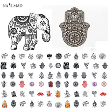 1 sheet NailMAD Mandala Indian Elephant Nail Water Decals Buddha's Hand Nail Sticker Nail Art Sticker Tattoo Decals