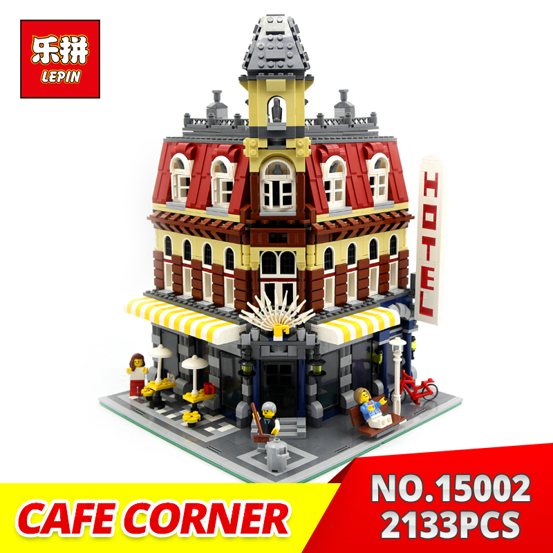 LEPIN building bricks 15002 2133PCS Cafe Corner Model Building Kits Blocks Toy Gift for Children Compatible With 10182 lepin 16014 1230pcs space shuttle expedition model building kits set blocks bricks compatible with lego gift kid children toy