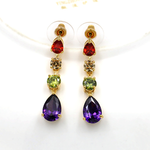 Image 5 - Beautiful Colorful Cubic Zirconia Crystal Mona Lisa Style Necklace and Earrings Jewelry Set in Gold Color Plated