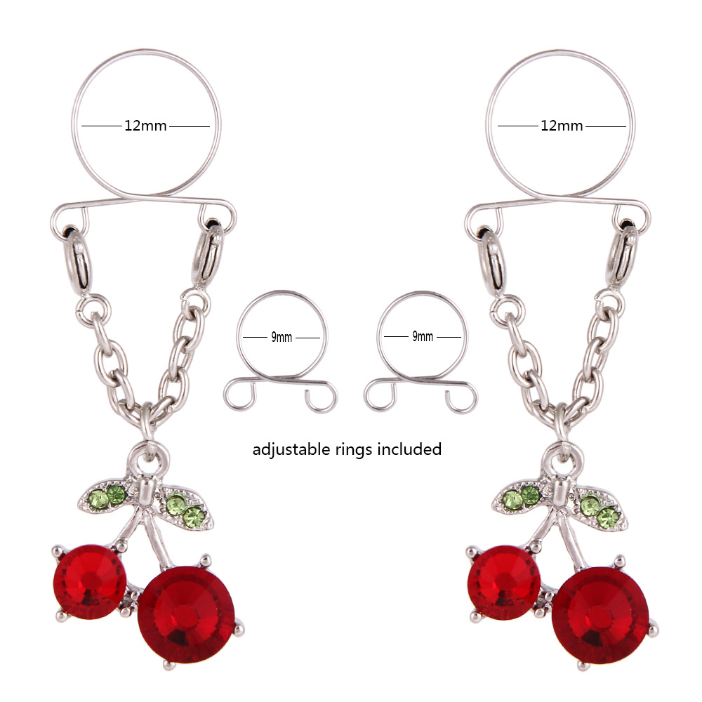 1 Pair Sexy Non Pierced Clip On Fake Nipple Ring Body Jewelry Shield Cover Clamps Adult Sex Toy Piercing Adjustable Size