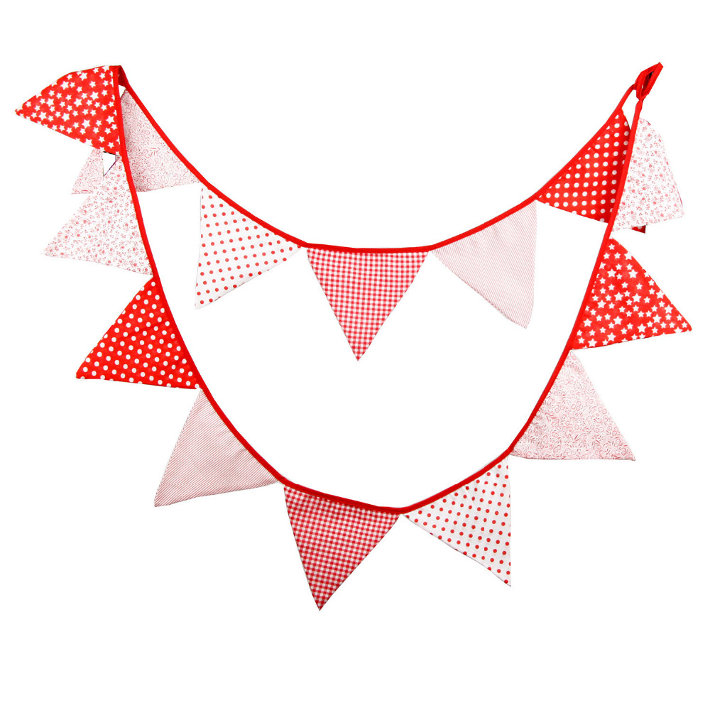 14 Flags 36m Red Style Colorful Cotton Fabric Baby Room Banner
