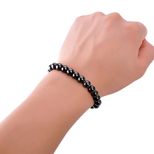 Channy Weight Loss Round Black Stone Magnetic Therapy Bracelet Health Care Magnetic Hematite Stretch Ring For Men Women