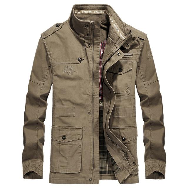 db5a135eecb Men Jacket Brand AFS JEEP Jacket Military Cotton Stand Collar Medium-long  Autumn Jacket For Male Plus Size 5XL 6XL 7XL 8XL