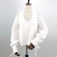 Steampunk Men's White Shirts Punk Gothic Shirt Larp Medieval Men Long Sleeve Bandage Vintage Tops Tees Cotton Shirt Halloween